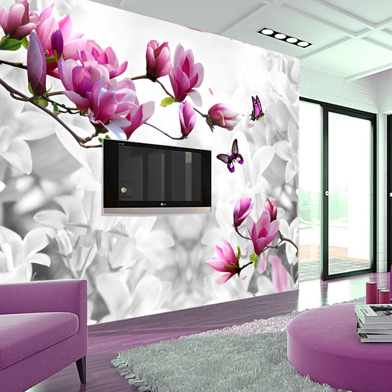 Attractive Fashion Custom Optional Materials 3d Wallpaper Popular Butterfly Flower Wall  Mural Tv Backdrop Ceiling Fresco Decor Wall Paper In Wallpapers From Home  ... Part 26