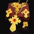 Latest Stone Ethiopian Cross Set Jewelry 24k Gold Plated Jewellery African Dubai Bridal Nigeria Wedding Sets