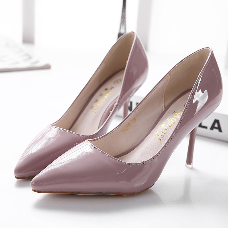 Ladies Patent Leather Single Shoes Solid Women Slip-On Pointy Toe Women High <font><b>Heels</b></font> Pumps Red Stilettos For Party Wedding <font><b>Size</b></font> <font><b>13</b></font> image