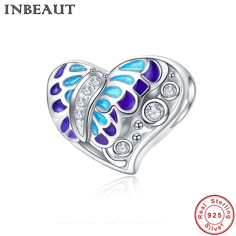 INBEAUT Women Fashion 100% 925 Sterling Silver Blue Enamel Butterfly CZ Zircons Heart Beads fit Pandora Charm Bracelet