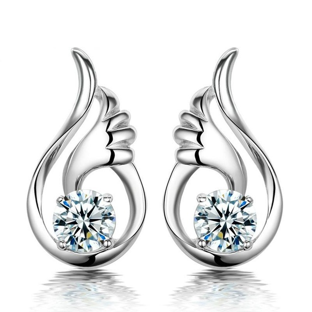 One Pair Sterling Silver Angel Wing Stud Earrings