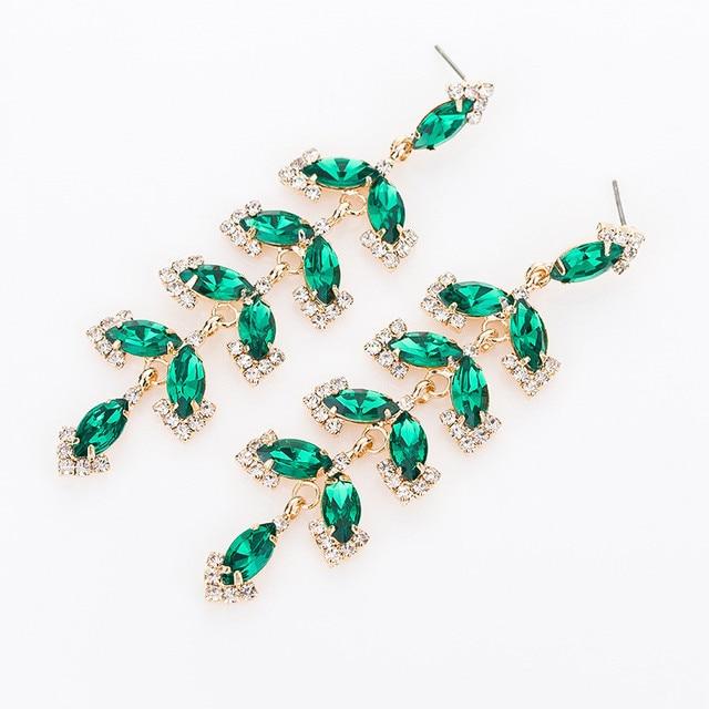 Модные аксессуары ювелирные изделия аутентичные популярные декоративные камни зеленый ивы форма сережки из сверкающих кристаллов женские # E329