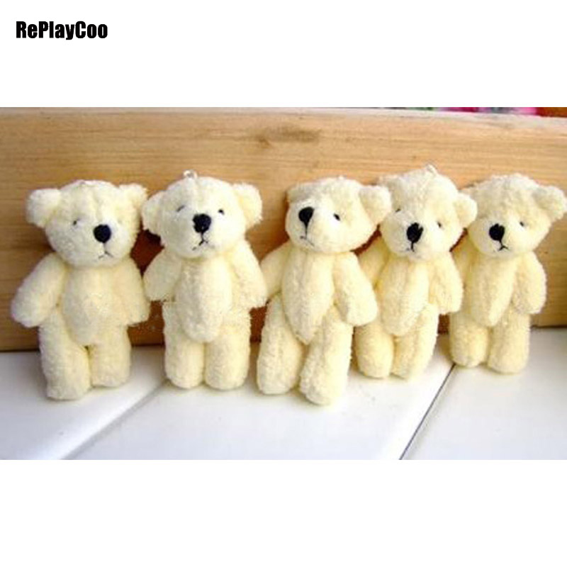 100Pcs Lot Kawaii Small Joint Teddy Bears Stuffed Plush 6CM Toy Teddy Bear Mini Bear Ted