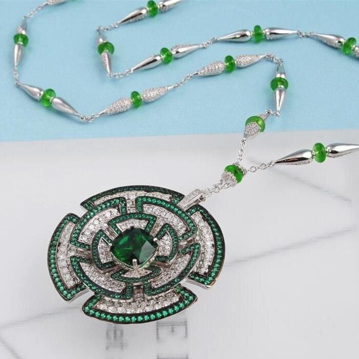 Projektant mody miedzi biżuteria 3A naszyjnik z cyrkoniami w Naszyjnik z wisiorkiem od Biżuteria i akcesoria na  Grupa 3