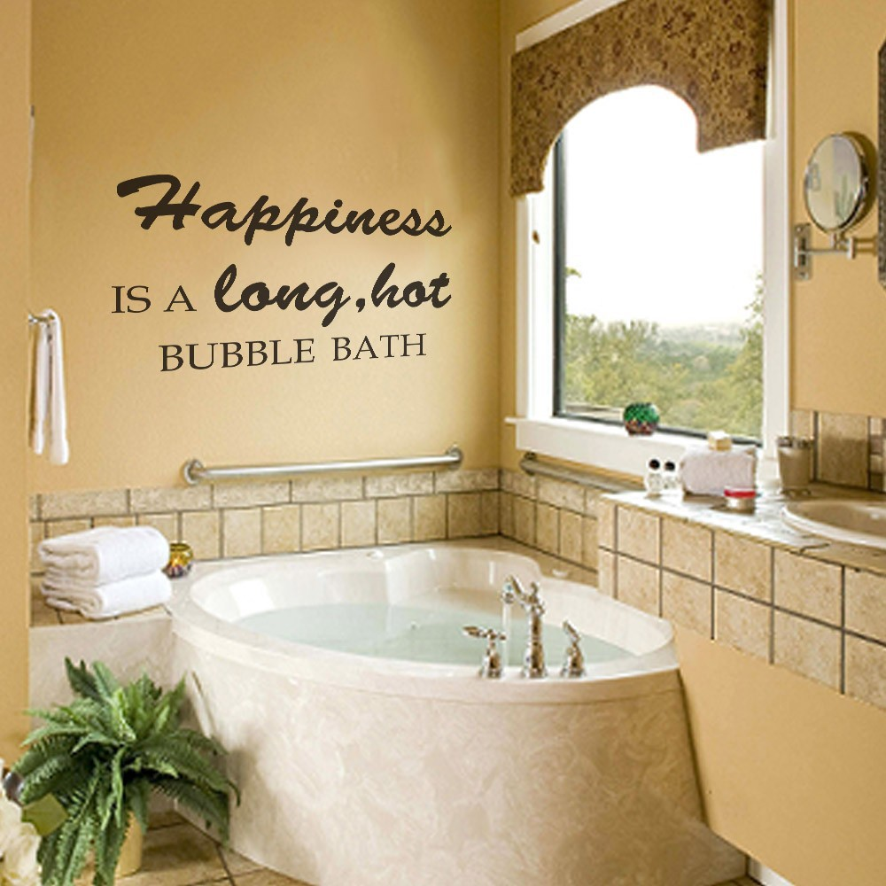 Happiness is a long hot bubble bath Bathroom Bathtub Wall Quote ...