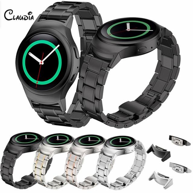 De alta calidad negro correa de reloj de oro de acero inoxidable reloj band + conector para samsung gear s2 rm-720 watch accesorios claudia