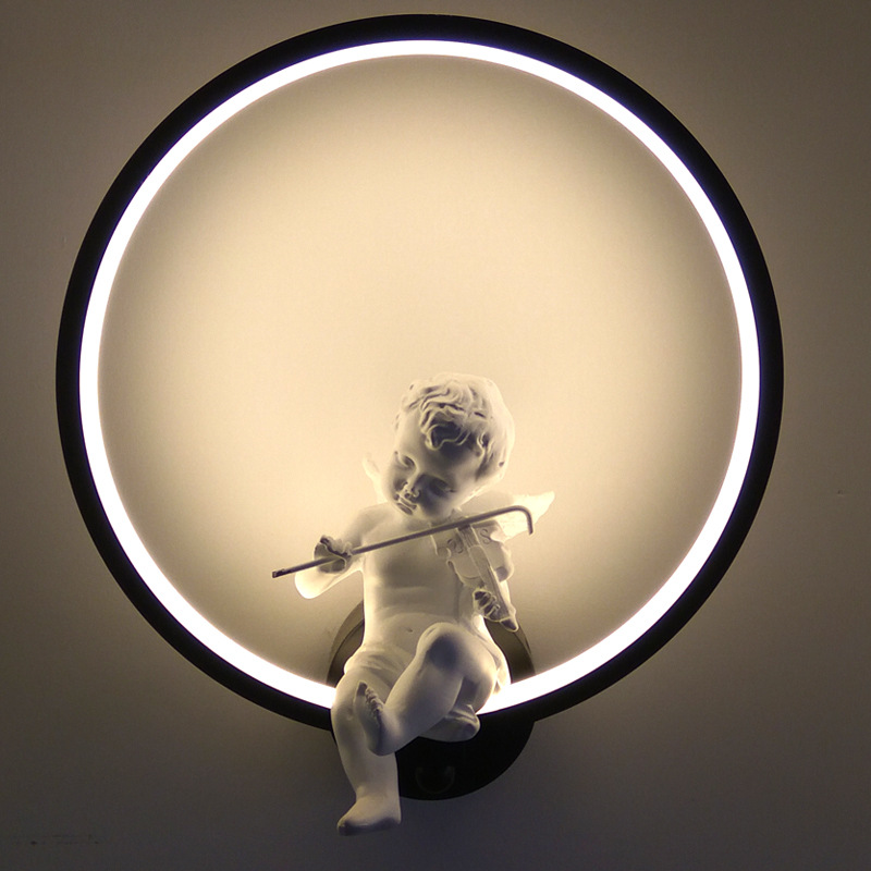 Nordic Style Angel Wall Lamps Art Deco Creative Black and White LED Indoor Wall Lamp For Bed Room Foyer Study Decorative LightsNordic Style Angel Wall Lamps Art Deco Creative Black and White LED Indoor Wall Lamp For Bed Room Foyer Study Decorative Lights