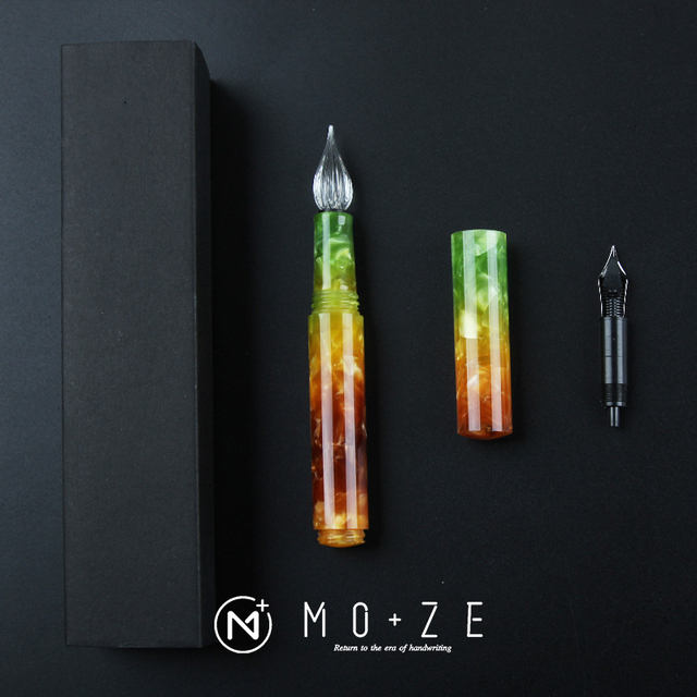 Wanwu Mini pluma de inmersión de vidrio y pluma estilográfica Aurora, creativa, celuloide, EF/F/Pequeño plumín curvo, pluma de tinta colorida y juego de regalo