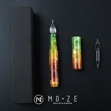 Wanwu kreatywny celuloid Aurora Mini szklane pióro do zanurzania i fontanny kieszeń na długopis EF/F/małe wygięte stalówka kolorowe pióro atramentowe i pudełko prezent zestaw