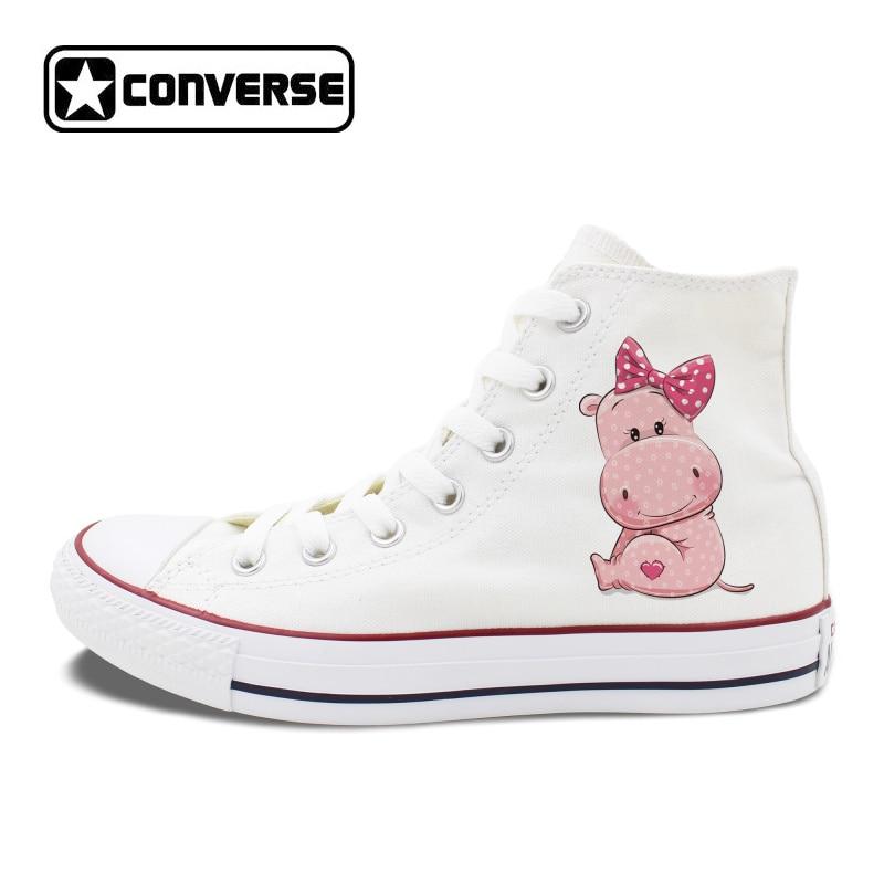Cute Bowknot Baby Boy Girl Cartoon Hippo Design Canvas Sneakers Women Men Converse Chuck Sneakers High Top All-Star cartoon boy girl design resin desktop decoration