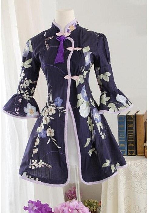 Douce Lolita médiévale traditionnelle cheongsam la robe chinoise en coton robe victorienne fleur style d'été