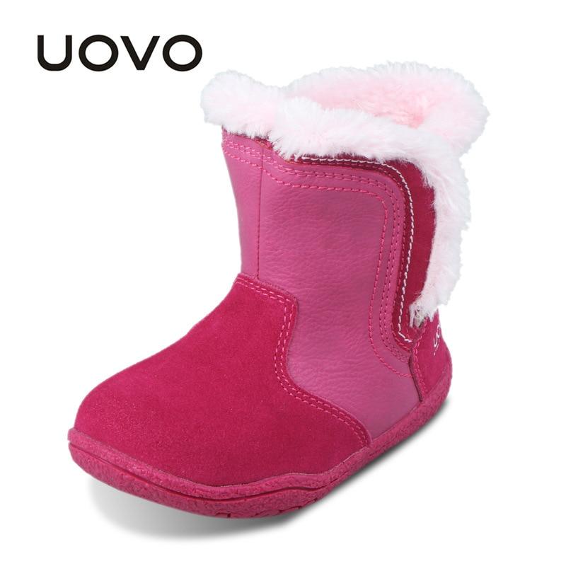 UOVO Little Girls Boots Faux Fur Plush Kids Boots Glitters Children Boots Soft Sole Winter Boots
