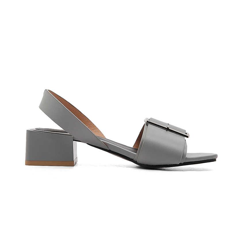 Karinluna 2018 מותג נעלי נשים נעלי אישה אופנה אבזם כיכר עקבים טרנדי מקרית קיץ סנדלי נעלי נשים גודל גדול 34 -43