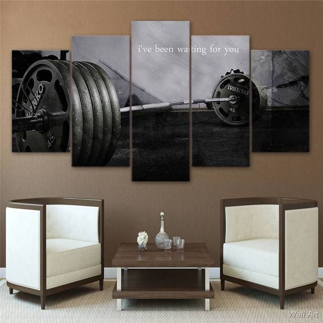 5 piece canvas art barbell gym bodybuilding canvas painting home 5 piece canvas art barbell gym bodybuilding canvas painting home decor wall pictures for living room teraionfo