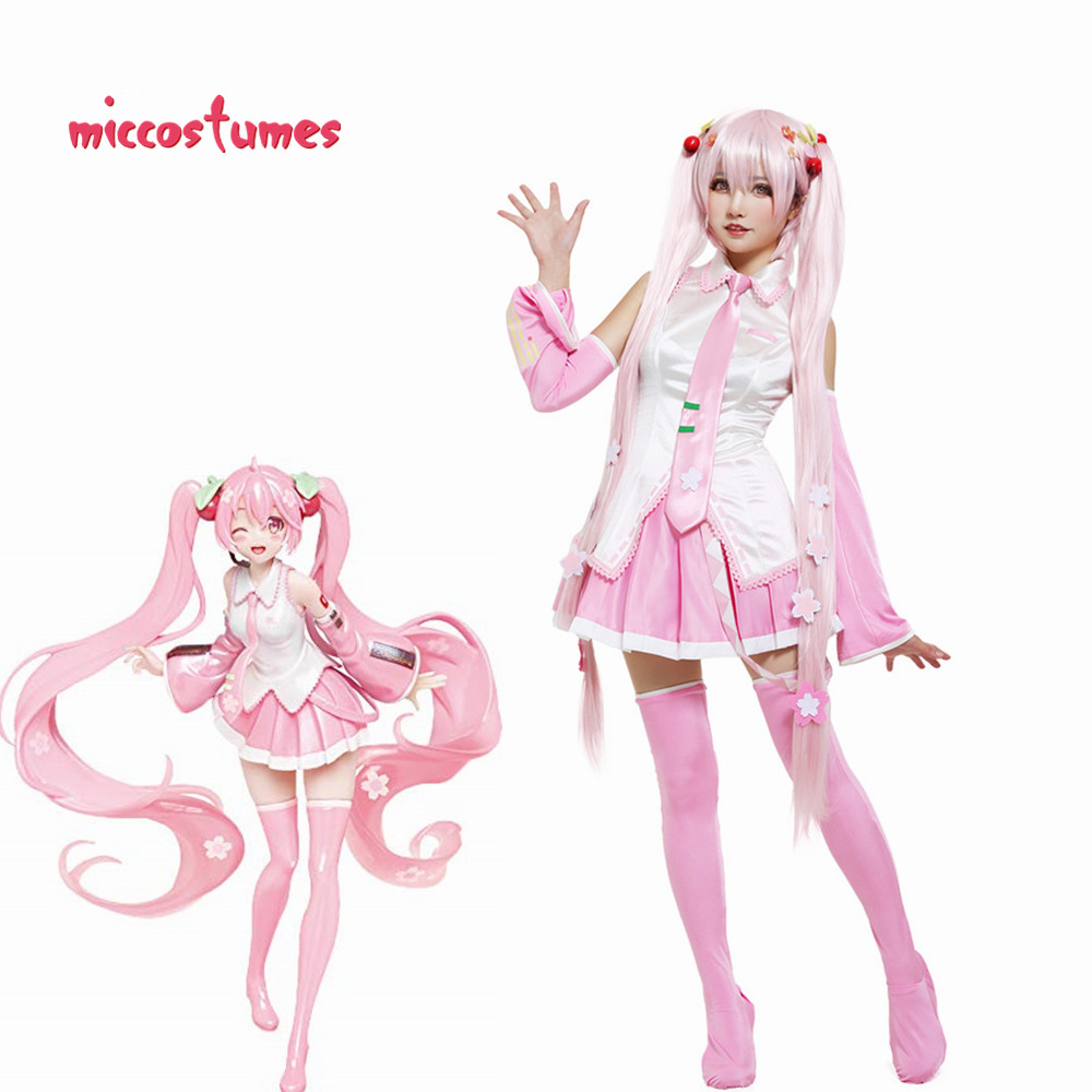 Sakura Miku Hatsune Cosplay Costume With Sakura Hair Pins Woman Halloween Outfit