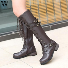 70b3d8f86f79 High Boots Female Winter Boots Women Steampunk Gothic Vintage Style Retro  Over the Knee Boots Flat