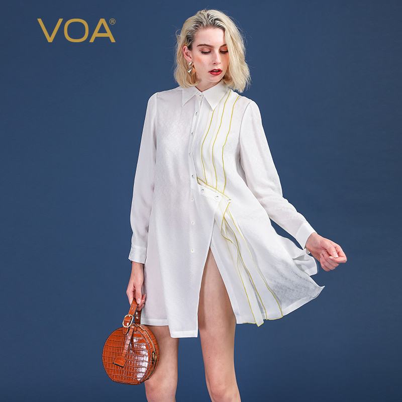 VOA White Oversize Silk Blouse BF Loose Shirt Women Casual Office Ladies Tops Long Sleeve Mori Girl Irregular Clothes Fall B920