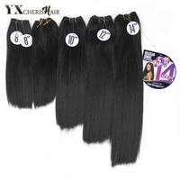 YXCHERISHAIR 8-14 дюймов Натуральные Черные Синтетические прямые волосы Yaki плетение афро двойной уток 5 шт./упак. термостойкие наращивание волос