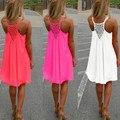Mulheres fluorescente verão chiffon dress sexy strap mangas backless praia casual solto mini dress 2017 vestidos de festa
