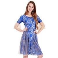 Ngắn Tay Áo Ren Dress Robe Dentelle Phụ Nữ Straight Royal Blue Short Sleeve Sheer Night Club Đảng Dress S-2XL