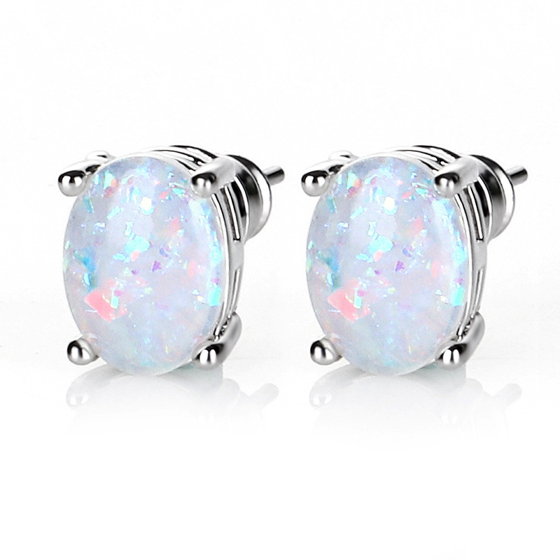HOMOD 6MM Round White Blue Purple Pink Fire Opal Stud Earrings For Women Stainless Steel Silver Filled Jewelry Cute Earrings in Stud Earrings from Jewelry Accessories
