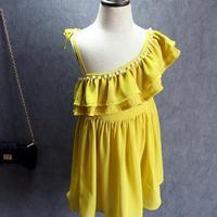 Kostuum merrie bimba estat mode ruches Kralen meisje jurk Sexy strapless strand kids meisje jurk schattige prinses jurk kids 2-7 leeftijd