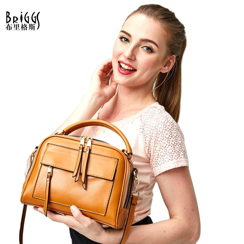 BRIGGS Vintage Trunk Tote Split Leather Crossbody Bag Famous Designer Brand Handbags High Quality Ladies Shoulder Bags For Women все цены
