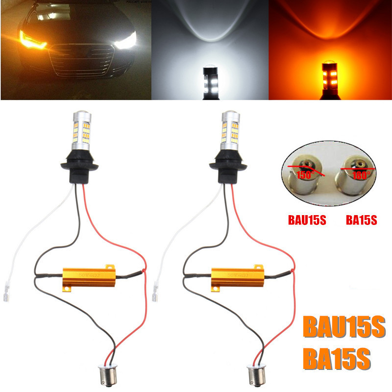 2pcs 1156 BA15S S25 BAU15S PY21W Canbus Error Free Dual Color Amber/White Switchback DRL LED Daytime Running Lights Turn Signal