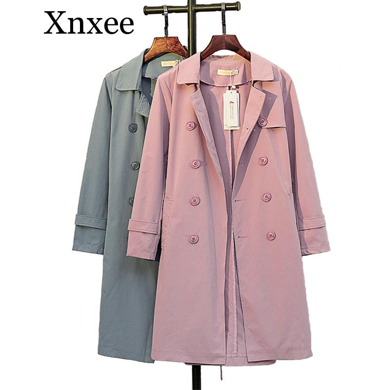 Xnxee Cotton   Trench   Coat Women 2019 Spring Autumn Solid color Double-breasted Long Windbreaker Casual Tops