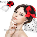 Em estoque moda feminina preto laço de cabelo pena Mini Top Hat Fascinator casamento cabelo acessórios nupcial 18033