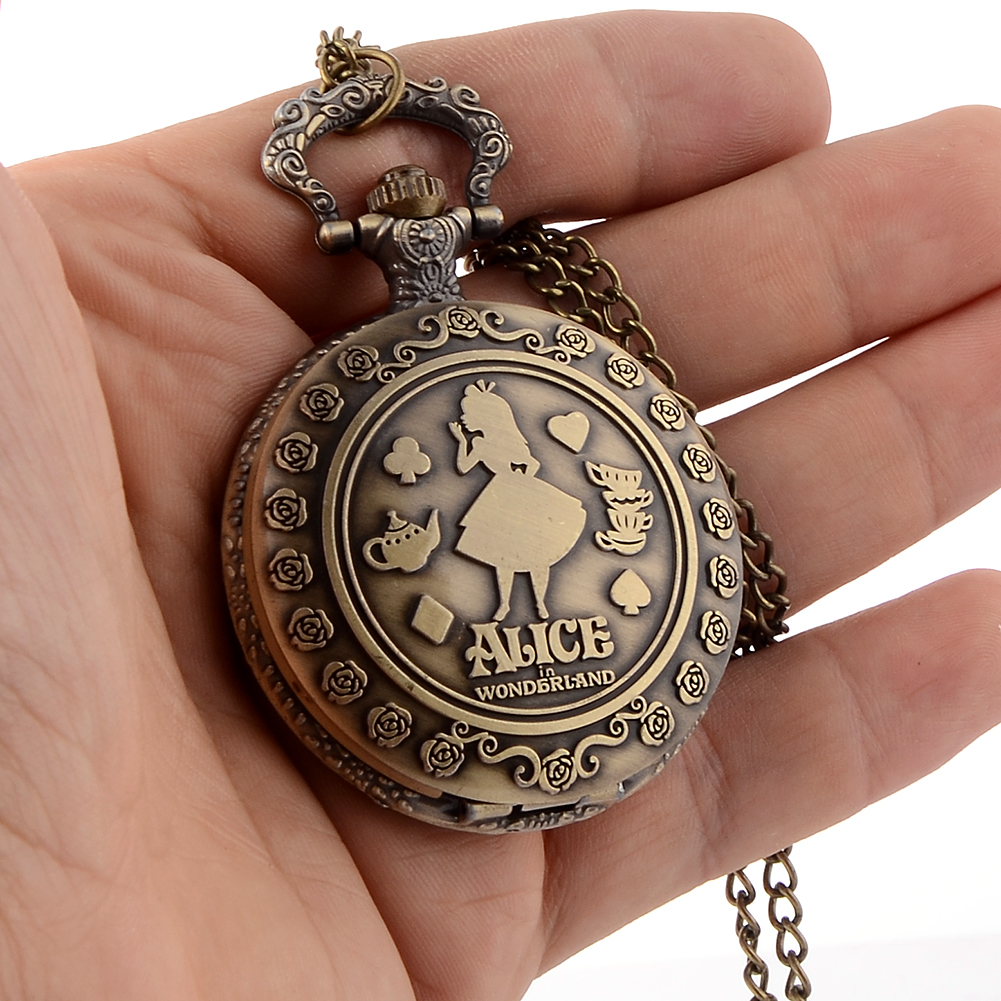 Cindiry New Retro Alice in Wonderland Theme Bronze Quartz Pocket Watches Vintage Fob Watches Brithday Gift P10 new arrival retro bronze doctor who theme pocket watch