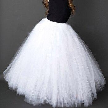 Czysty biały długie tutu spódnica dla dziewczyny stałe puszysty tiul TUTUS ślubne dla dzieci kostium imprezowy opcja 6 kolorów do kostek fantazyjne spódnice
