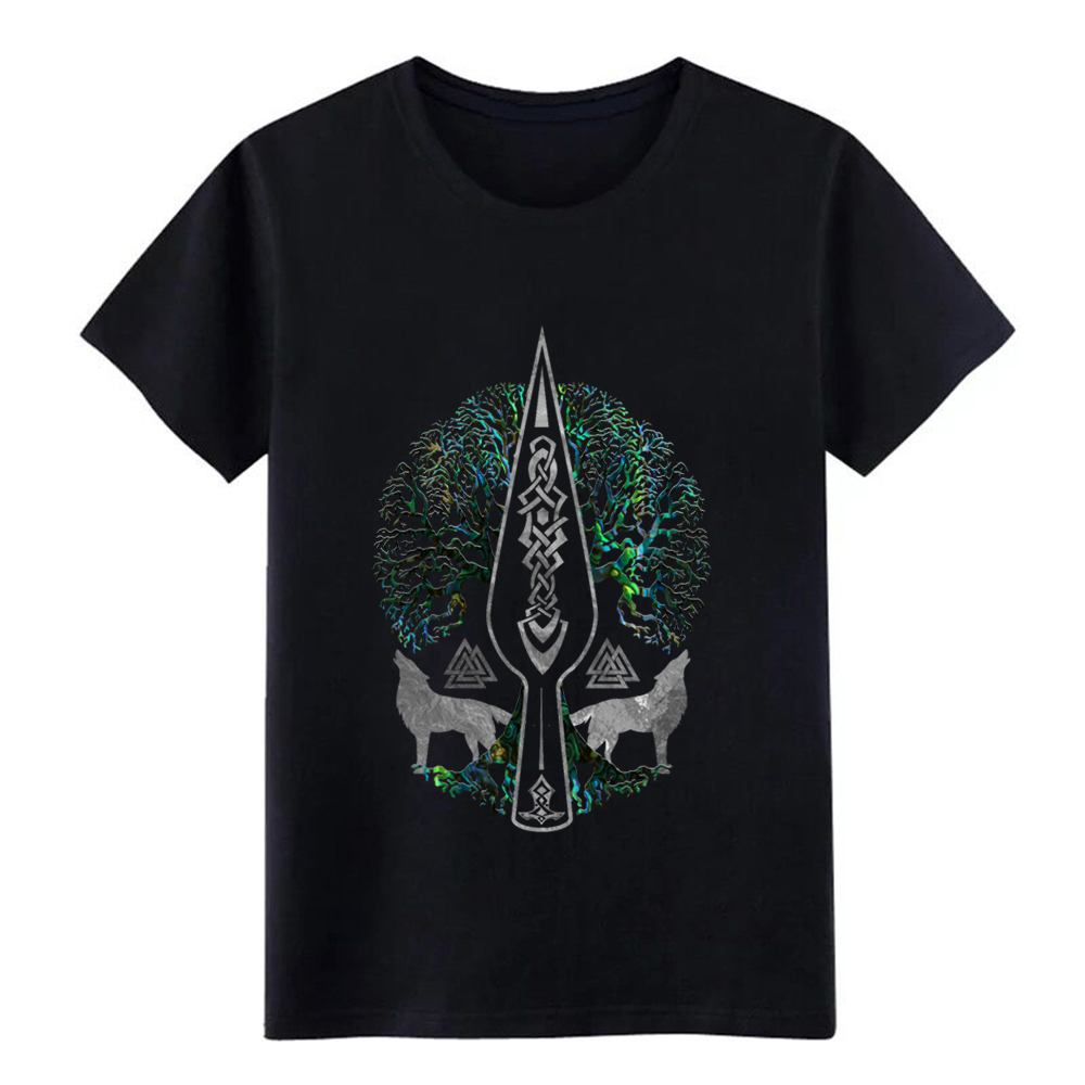 gungnir spear o f odin and tree of life t shirt Designs cotton Crew Neck Outfit Famous Humor Spring Autumn Normal shirt