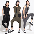 Women performance wear Costume loose Casual one piece Pants Rompers harem Black Green Patchwork Hip Hop Dance jumpsuit