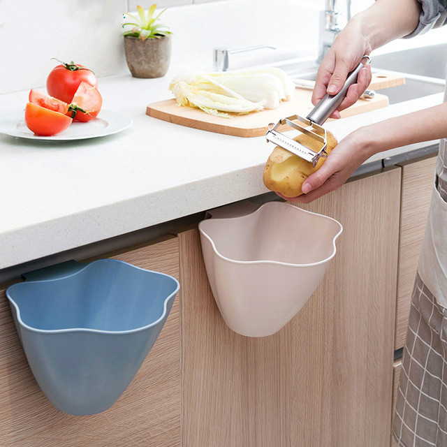 Kitchen Trash Bin Sundries Storage Box Closet Door Hanging Trash Can Office Garbage Organizer Debris Container Storage Boxes(China)