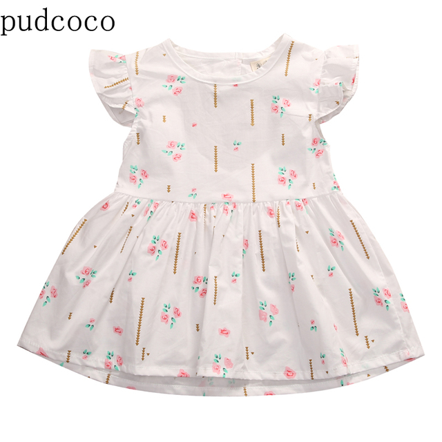 252cb40b4 Pink Green Little Floral White Baby Dress Infant Toddler Baby Girl ...