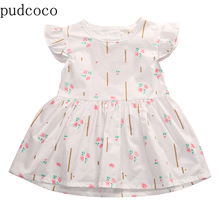 US STOCK  Pink Green Little Floral White Baby Dress Infant T
