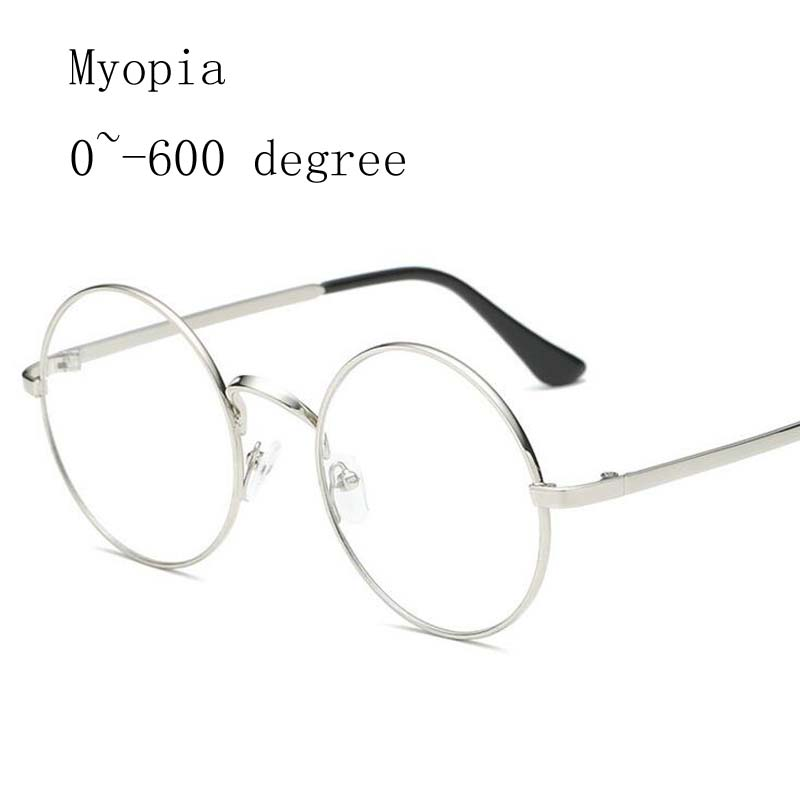 Alloy Round Frame Women Myopia Glasses Men Metal Frames Myopia Glasses -1.0 -1.5 -2.0 -2.5 -3.0 -3.5 -4.0 -4.5 -5.0 -5.5 -6.0