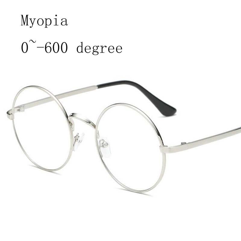 Alloy Round Frame Women Myopia Glasses Men Metal Frames Myopia Glasses -1.0 -1.5 -2.0 -2.5 -3.0 -3.5 -4.0 -4.5 -5.0 -5.5 -6.0