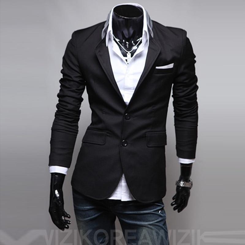 Блейзер Мужской бренд мужской одежды Блейзер костюм Фитнес повседневные Костюмы мужские спортивные пиджаки куртка пальто для мужчин - Цвет: Черный