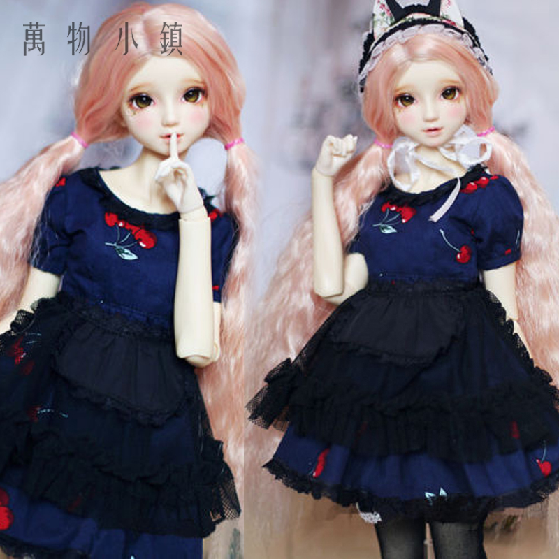 New 1/3 1/4 SD10 MSD DD BJD Doll Clothes Sweet Cherry Navy Blue Dress/Suit(4pcs) new 1 3 bjd wig short hair doll diy high temperature wire for 1 4 msd bjd sd dollfie