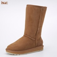 Classic Real Suede High Snow Boots For Women Winter Shoes Sheepskin Leather Fur Lined Big Girls