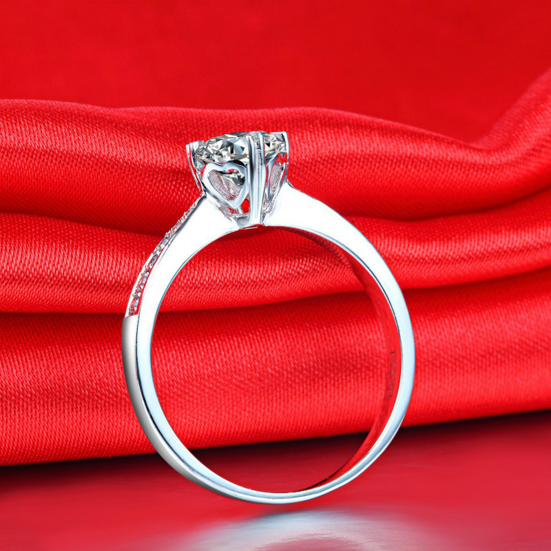 1ct Carat 5A Zircon Sona Cz Rings Classic Engagement Rings 925 Sterling Silver White Gold Color Clarity Jewelry in Engagement Rings from Jewelry Accessories