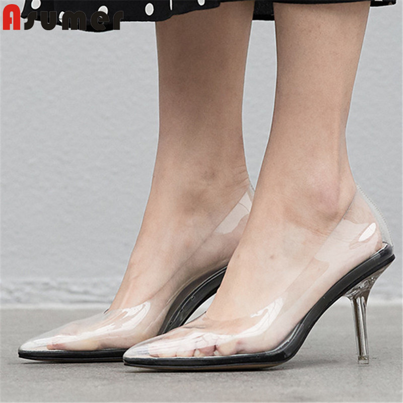 ASUMER big size 34-41 fashion spring autumn new shoes woman pointed toe shallow pumps women PVC high heels prom wedding shoes ASUMER big size 34-41 fashion spring autumn new shoes woman pointed toe shallow pumps women PVC high heels prom wedding shoes