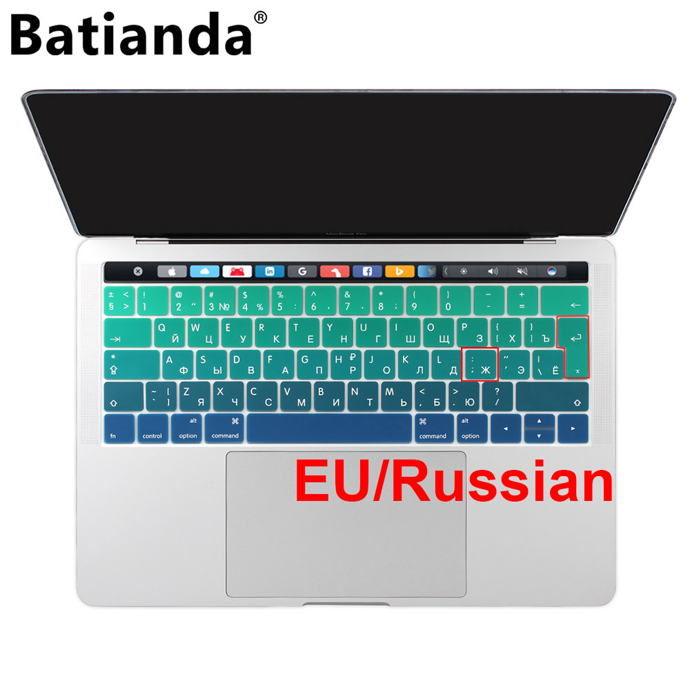 все цены на EU Russian Colorful Gradient Soft Silicone Keyboard Cover Skin for Macbook 2016 2017 Pro 13 15 Retina & Touch Bar A1706 A1707