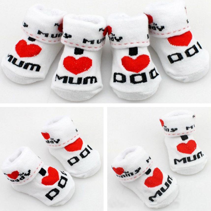 Bmf telotuny Модная одежда для детей, Детская Мода младенческой мальчик девочка хлопок скольжению носки-тапочки Love DAD Love Mum письмо носки Apr13 Прямая...
