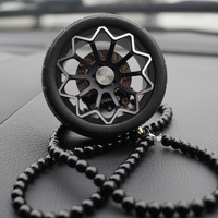 Luxury Racing Car Tires Model Metal Wheel Keychain Leather Rope Men Car Wheel Bead Chain Pendant