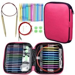 Agujas de tejer circulares Set 26 Uds agujas de ganchillo intercambiables para el Kit de accesorios de tejer de hilo de ganchillo para principiantes regalo