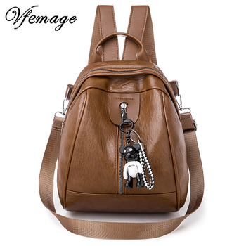 Vfemage Leather Backpack Women Small Travel Backpack Female Shoulder Bag Small Schoolbag for Girl Multifunction Backbag Feminina women leather backpack pink bolsas mochila feminina large girl schoolbag travel bag genuine leather lady backpacks candy color