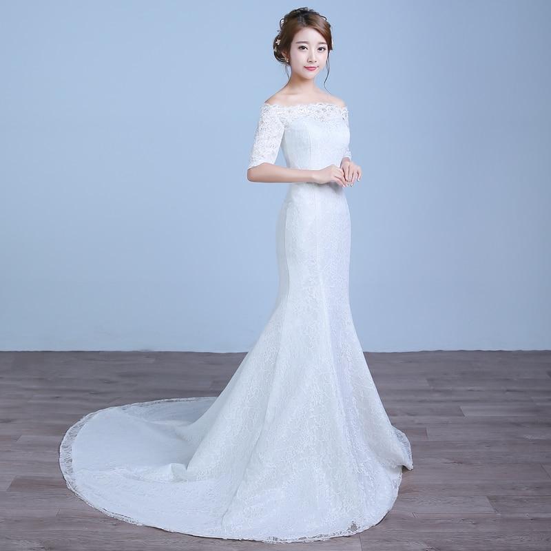 2017 nou culoare sosire albă Mermaid Lace rochie de - Rochii de mireasa - Fotografie 3